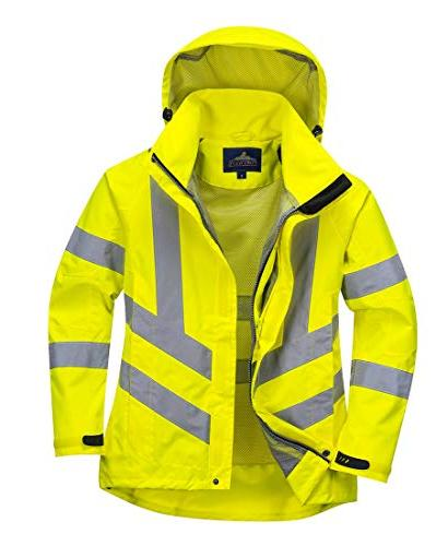 Portwest Ladies Hivis Jacket Viz Insulated Visability Work Bomber Rain ANSI X Small Yellow