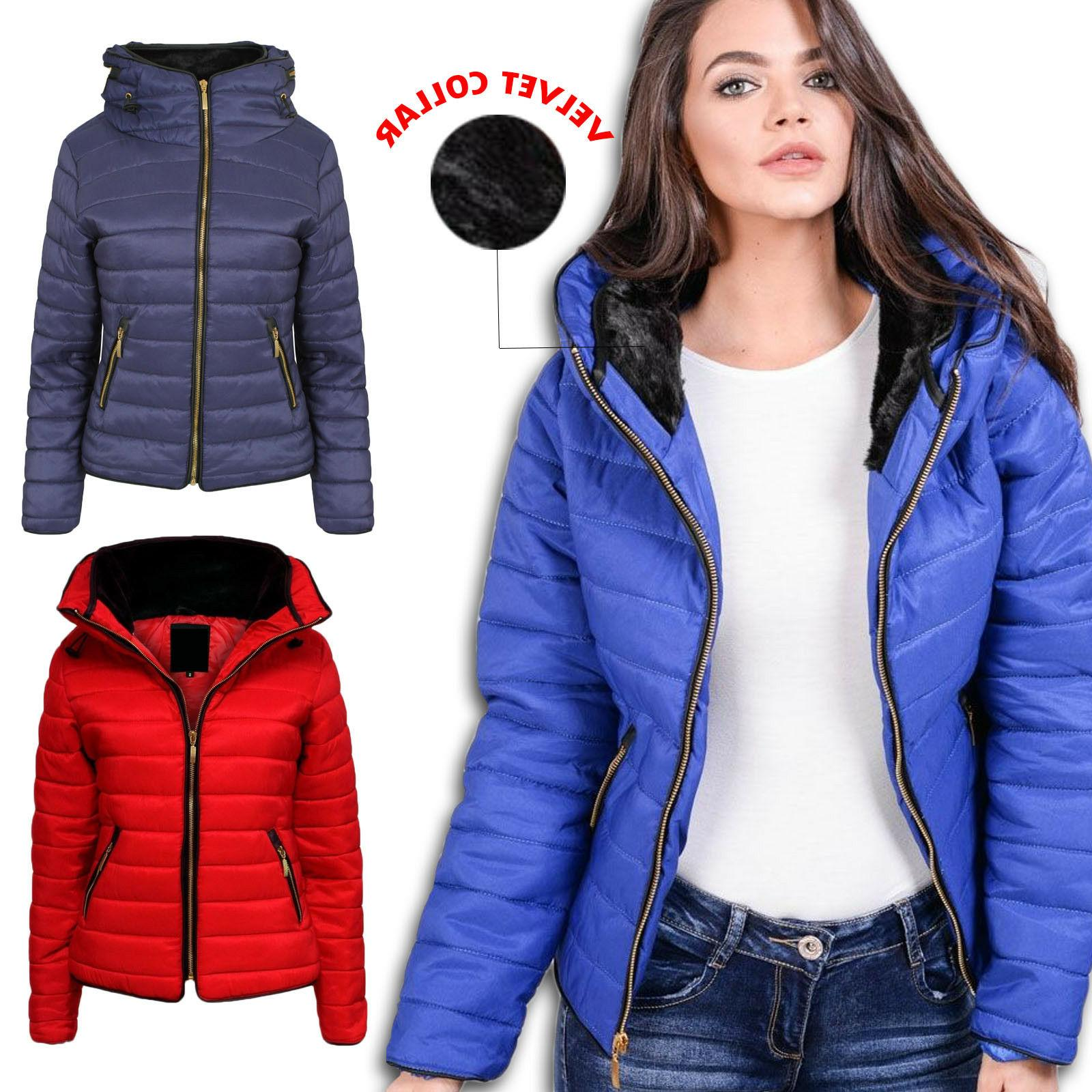 ladies womens high collar quilted puffer bubble