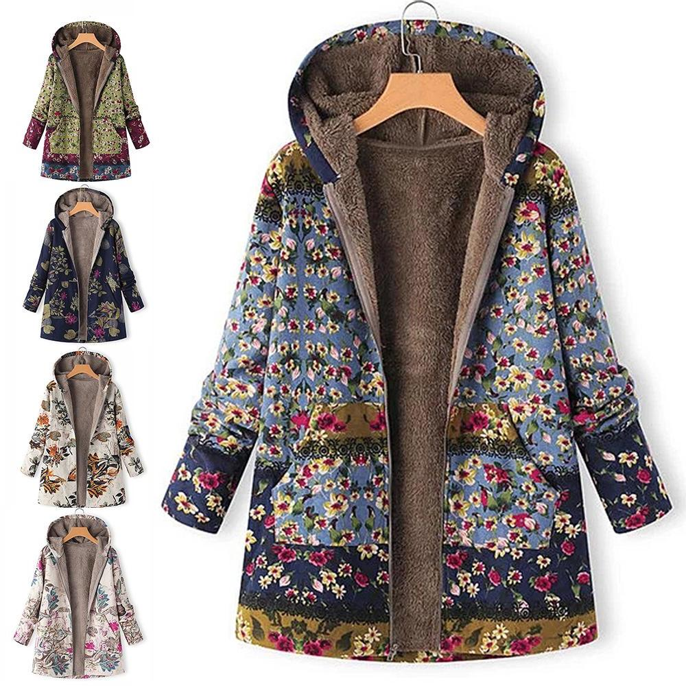 leaves floral print warm coat font b