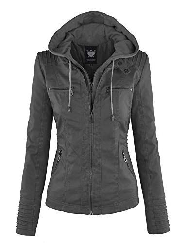 ll wjc663 womens removable hoodie motorcyle jacket