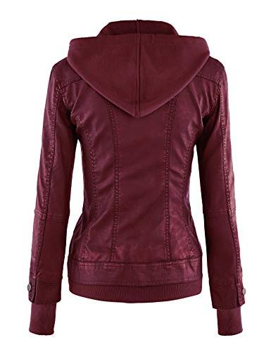 Lock and Love WJC664 Jacket with Hoodie Wine