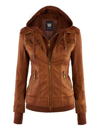 Lock and Love LL WJC664 Womens Faux Leather Jacket with Hood
