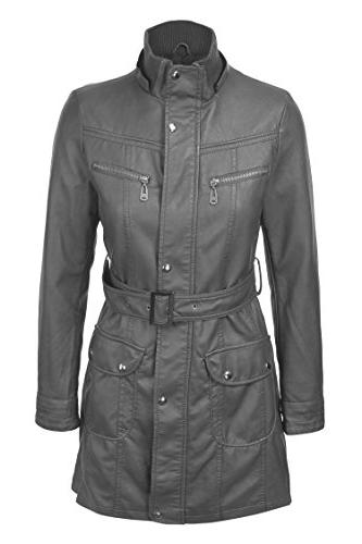 Lock and Love WJC741 Hooded Faux Leather Trench S Gray