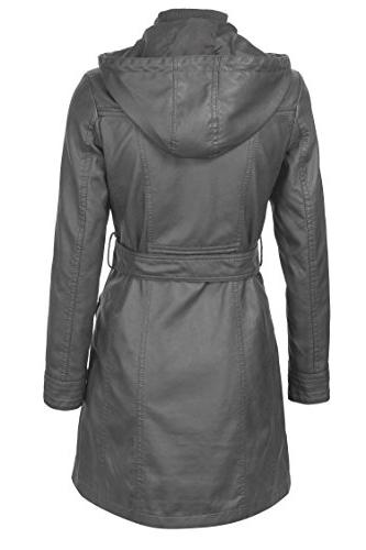 Lock and WJC741 Hooded Leather Trench Parka S Gray