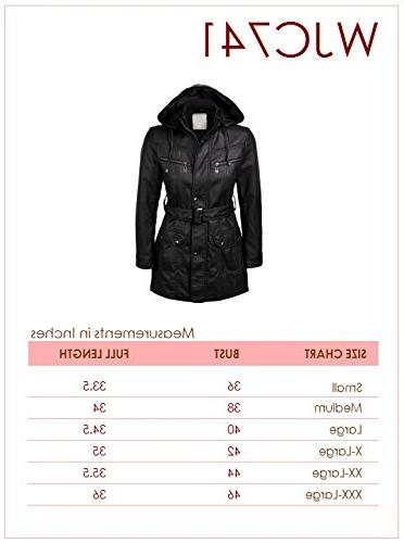 Lock WJC741 Womens Hooded Faux Leather Trench Parka S Gray