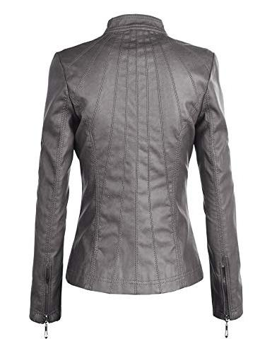 Lock and Love WJC877 Womens Leather Jacket Grey
