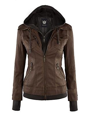 Lock and Love LL Womens Hooded Faux Leather Jacket - Brown -