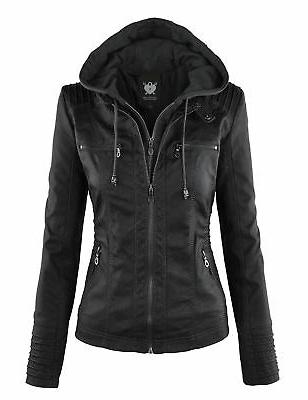 ll womens hooded faux leather jacket wjc663