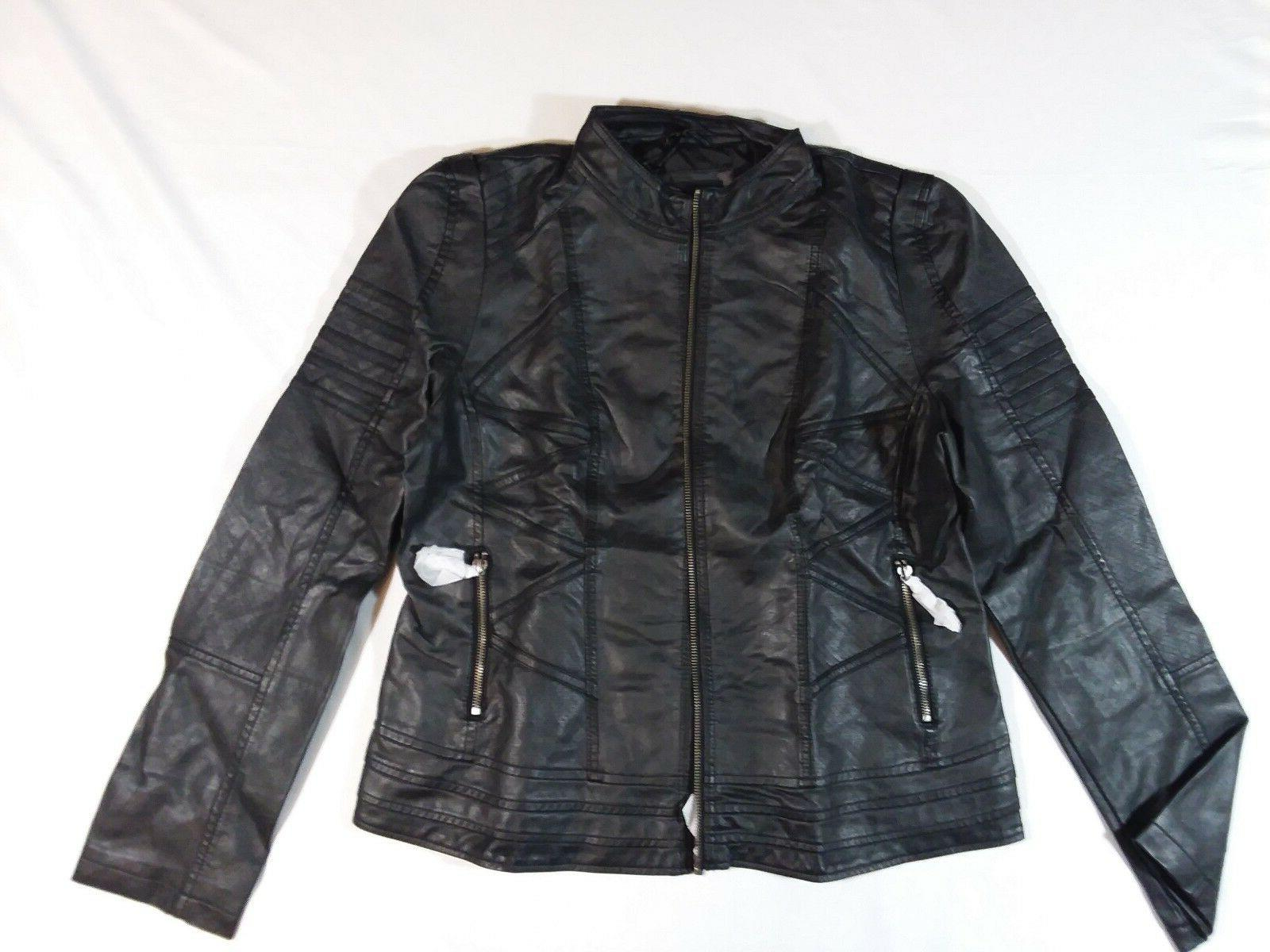 ll womens quilted black leather biker jacket