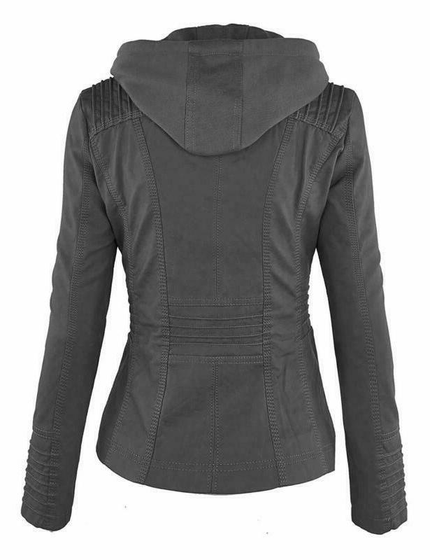 Made Johnny Womens Faux Leather Motorcycle Jacket With Hoodie