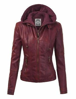 mbj wjc1044 womens faux leather quilted motorcycle