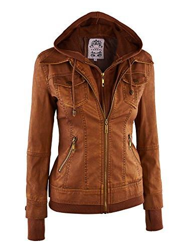 Made By WJC664 Faux Leather Jacket with CAMEL