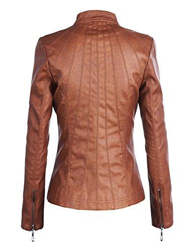 Made By WJC877 Womens Leather Moto Camel