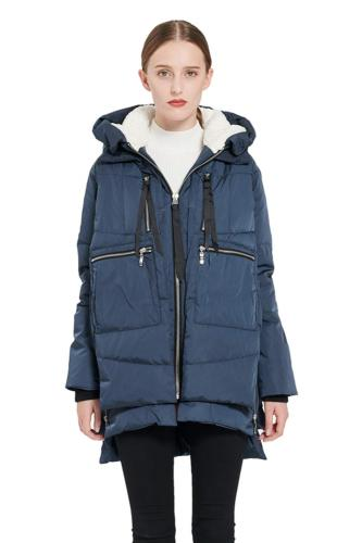 NEW NWT Orolay Women's Thickened Down Jacket Navy Medium Win