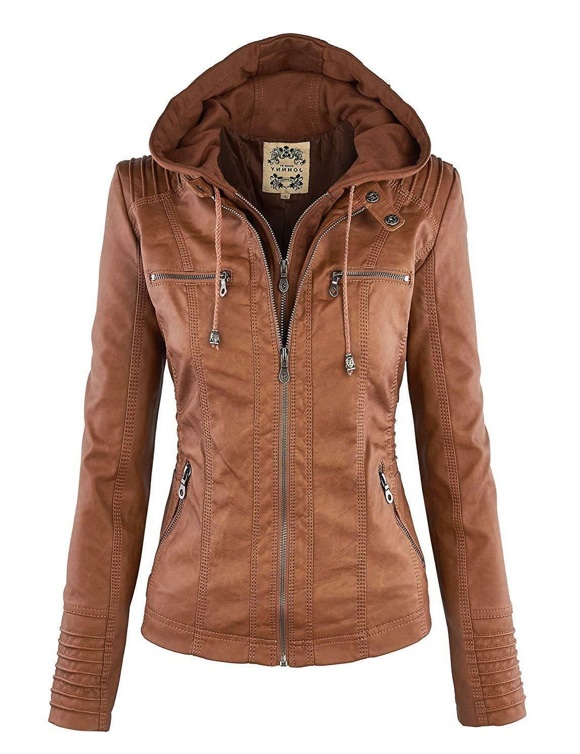New Made By Johnny WJC663 Womens Removable Hoodie Motorcyle