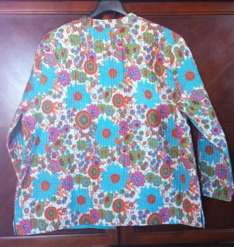 NEW! Quilted Jacket Cotton Floral Pockets The