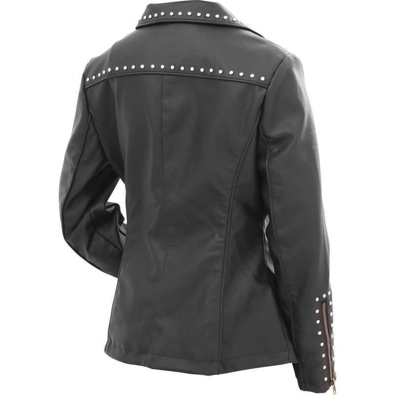 BLACK Faux Leather Poly Lined Zip MC