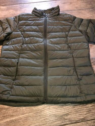 Green Puffer Jacket Large Packable