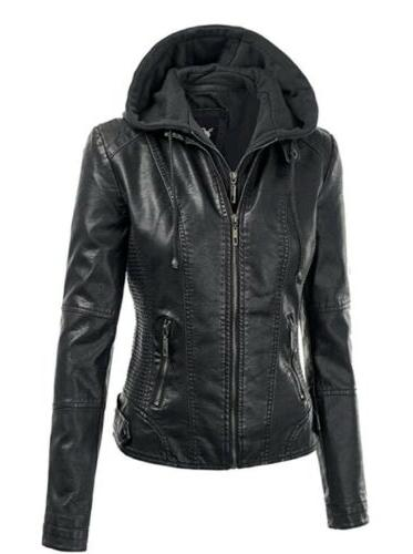 NWT Lock and Love LL Womens Hooded Leather Jacket