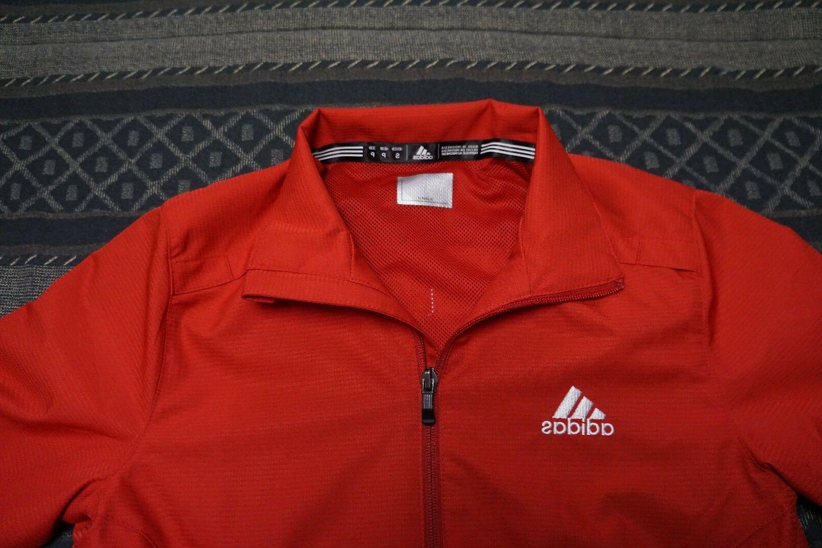 NWT Adidas Women's Woven Jacket Size Small University Red/Wh