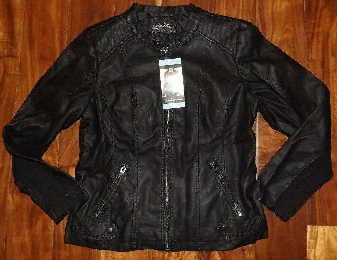 nwt womens collection black faux leather jacket