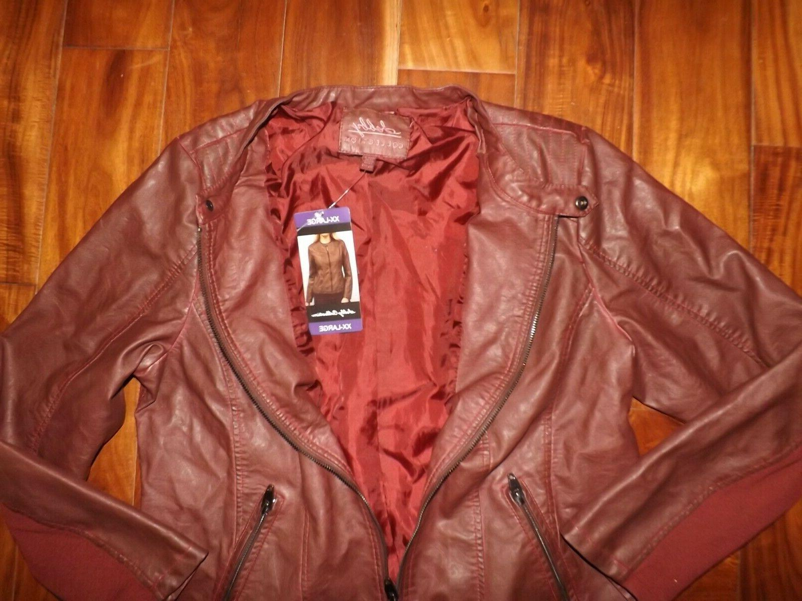 NWT Womens Red Faux Leather Coat 2XL