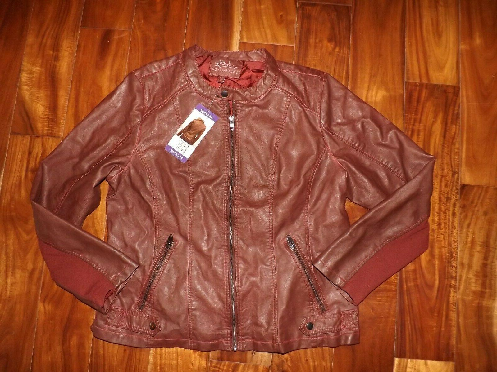 nwt womens collection red faux leather jacket