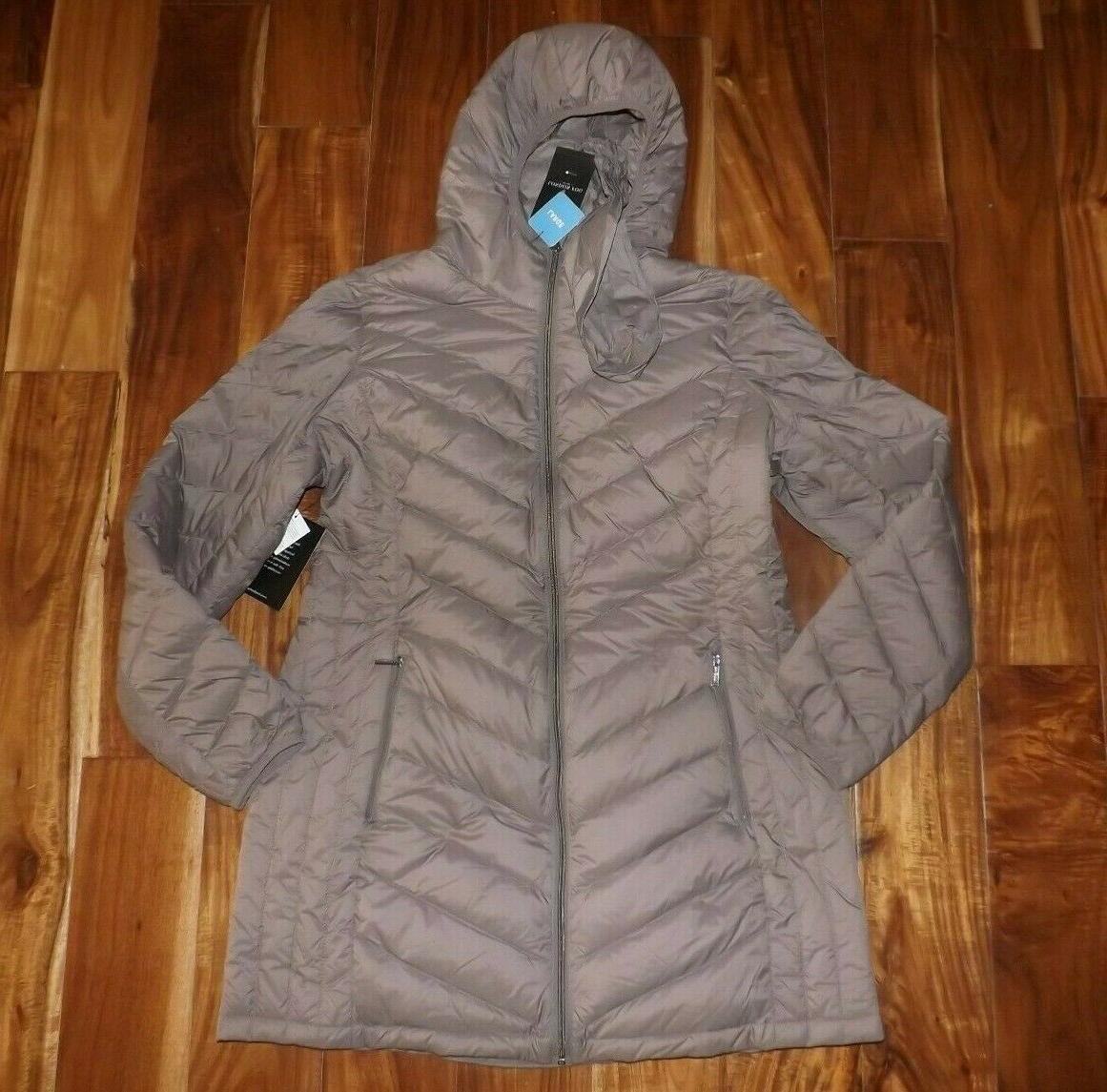 nwt womens dark taupe brown packable down
