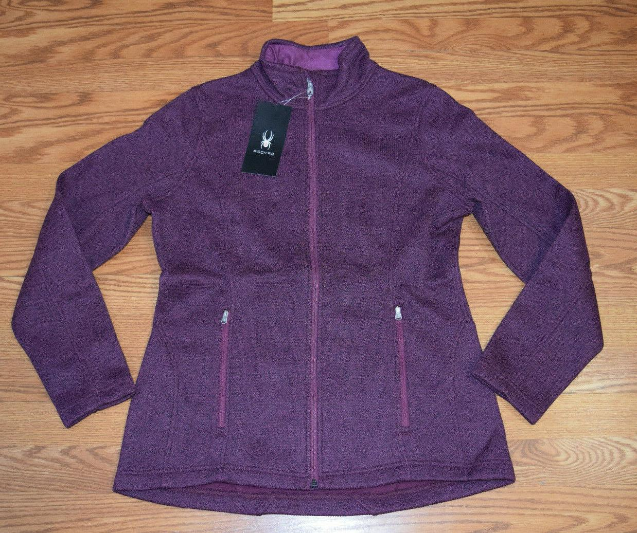 NWT Womens SPYDER Purple Plum Fleece Lined Full Zip Knit Jac