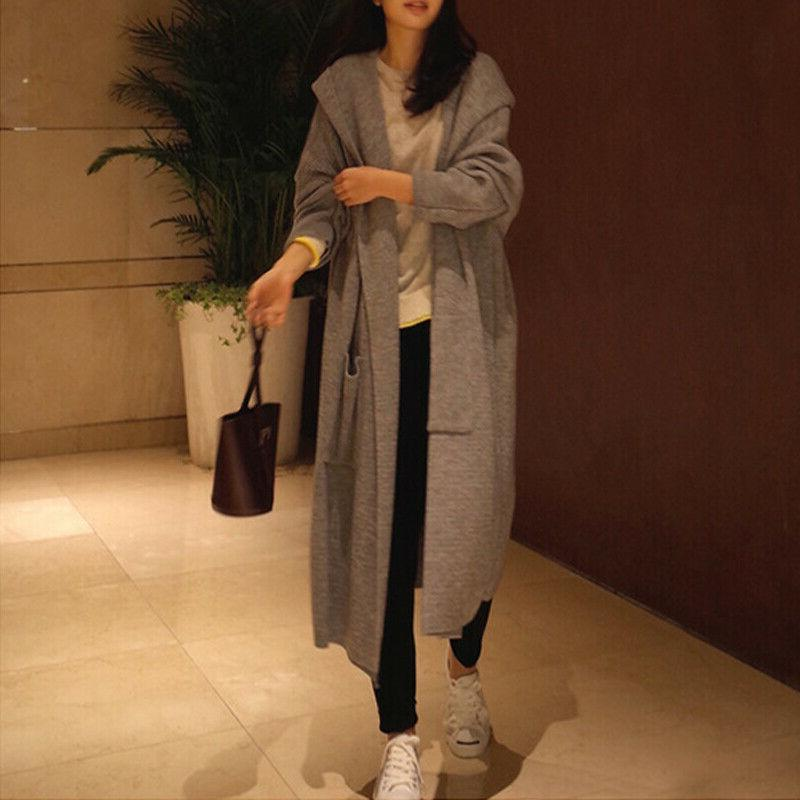 Womens Hooded Coat Knitted
