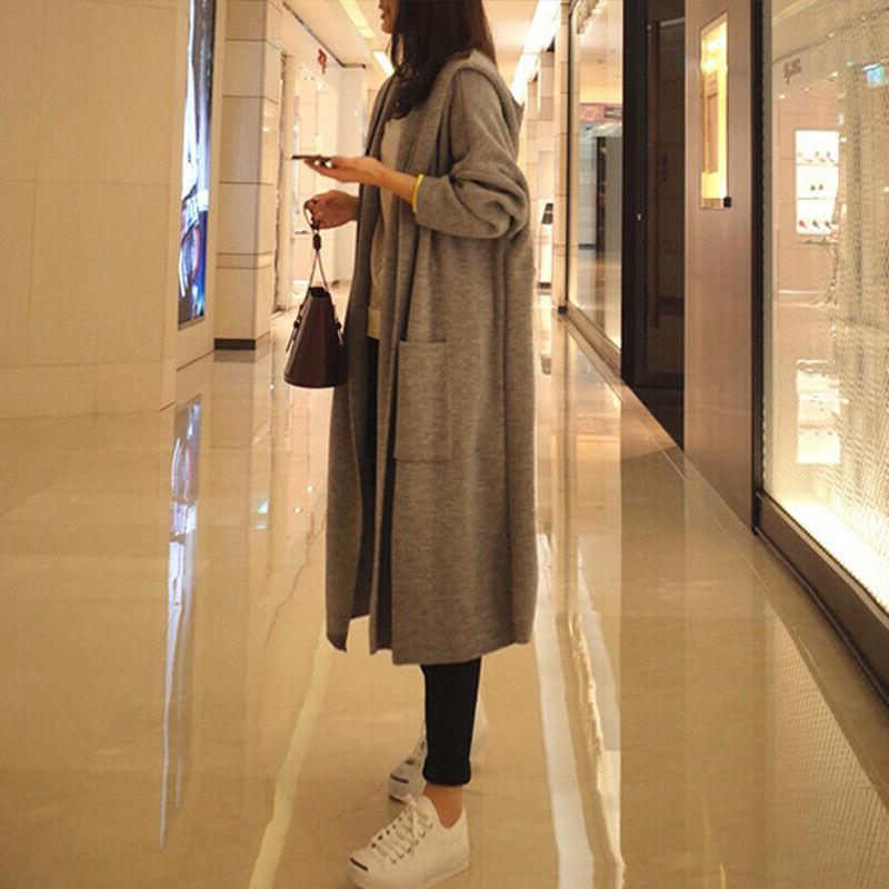 Womens Hooded Trench Coat Knitted