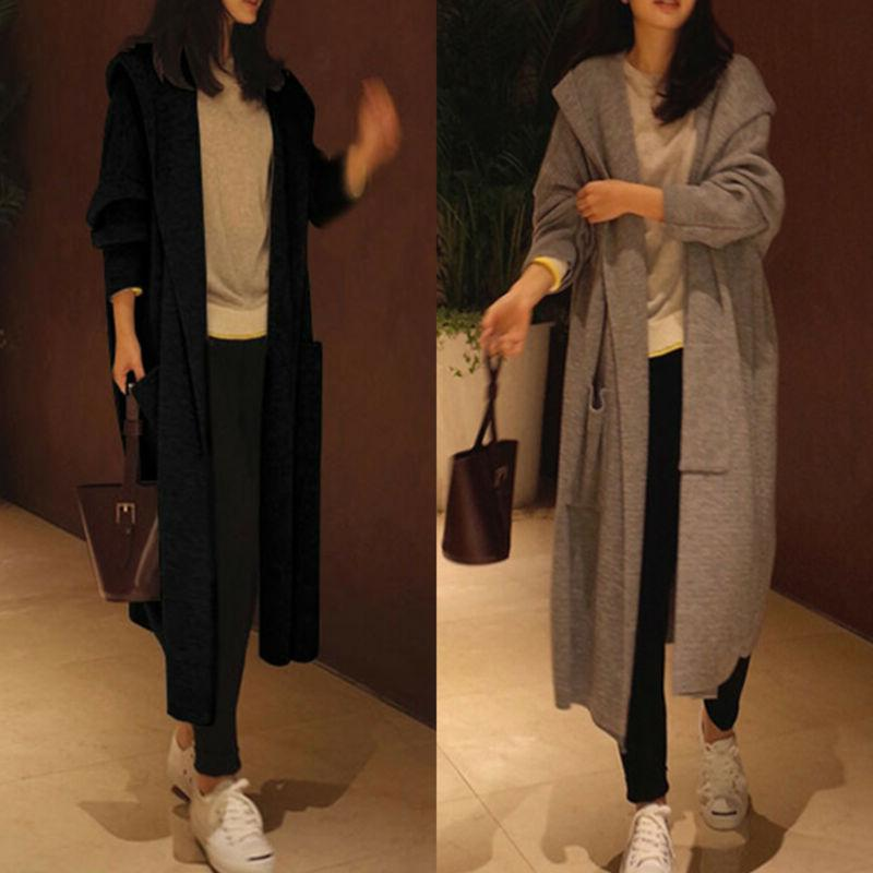 womens hooded trench coat knitted open front