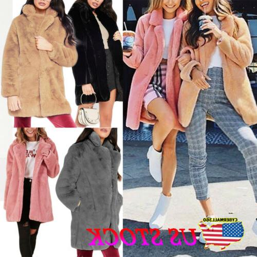 Plus Size Womens Oversized Chunky Coat Ladies Fur Fluffy Jac