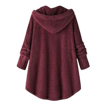 Plus Hooded Fluffy Fur Jacket Tops Cover US