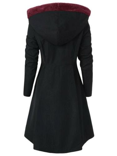 Plus Size Warm Peacoat Coats Hooded Trench Outwear Jackets US