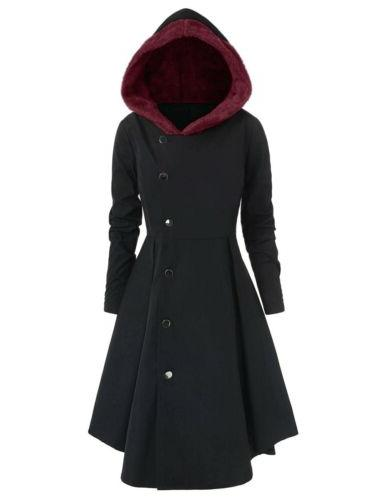 Plus Warm Peacoat Hooded Trench Outwear US