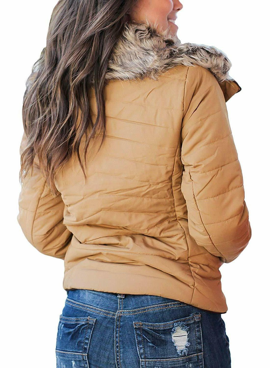 Sidefeel Women Faux Fur Collar Up Coat Jacket Outwear Cardigan