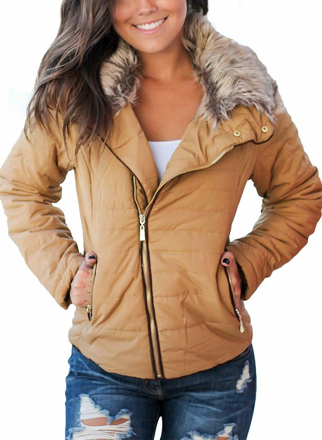 sidefeel women faux fur collar zip up