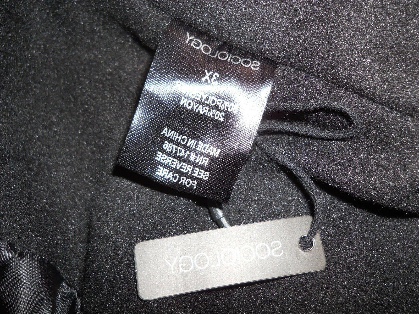Sociology Single Breasted Plus Size Black Size 3X