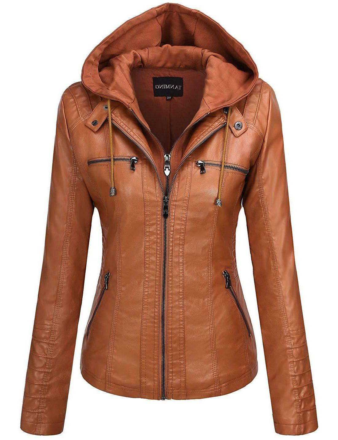 tanming women s removable hooded faux leather