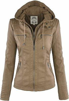 Tanming Women's Faux Leather Collar Moto Biker Short Coat Ja