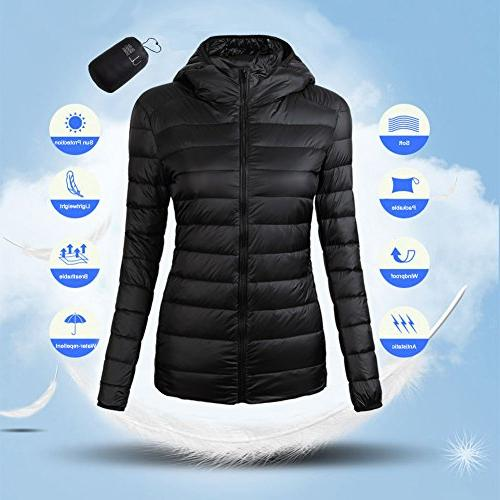 CIOR Packable Down Puffer Jacket Coat With Bag,CYRF01,01Black,M