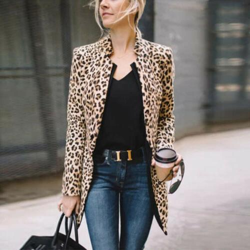 US Leopard Women Sweater Warm Winter Long Coat