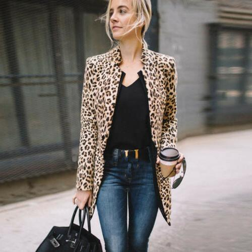 US Leopard Jacket Women Sweater Warm Casual Winter Cardigan Coat