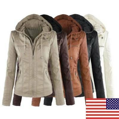 US Vintage Womens Jacket Hooded Motor Coat Winter Outwear Pa