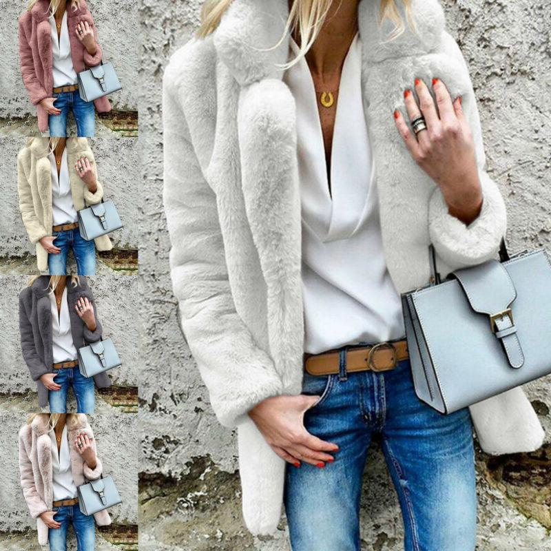 Women Teddy Bear Winter Fluffy Coat Fleece Fur Jacket Casual