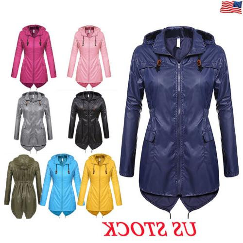 US Womens Winter Raincoat Hooded Ladies Waterproof Jacket Pa