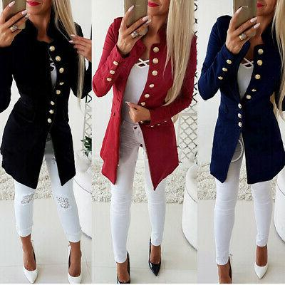 Vintage OL Slim Blazer Long Coat Outwear