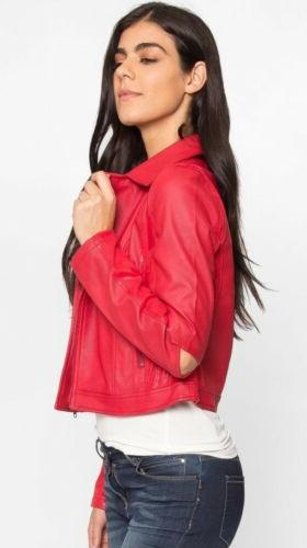 Wet Seal Womens Aviator Moto Rubber Red Faux Jacket M NEW