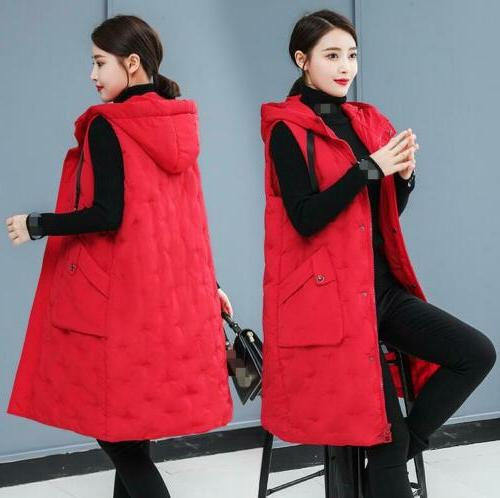 Winter Sleeveless Jacket Hooded Thick Warm Quilted Vest